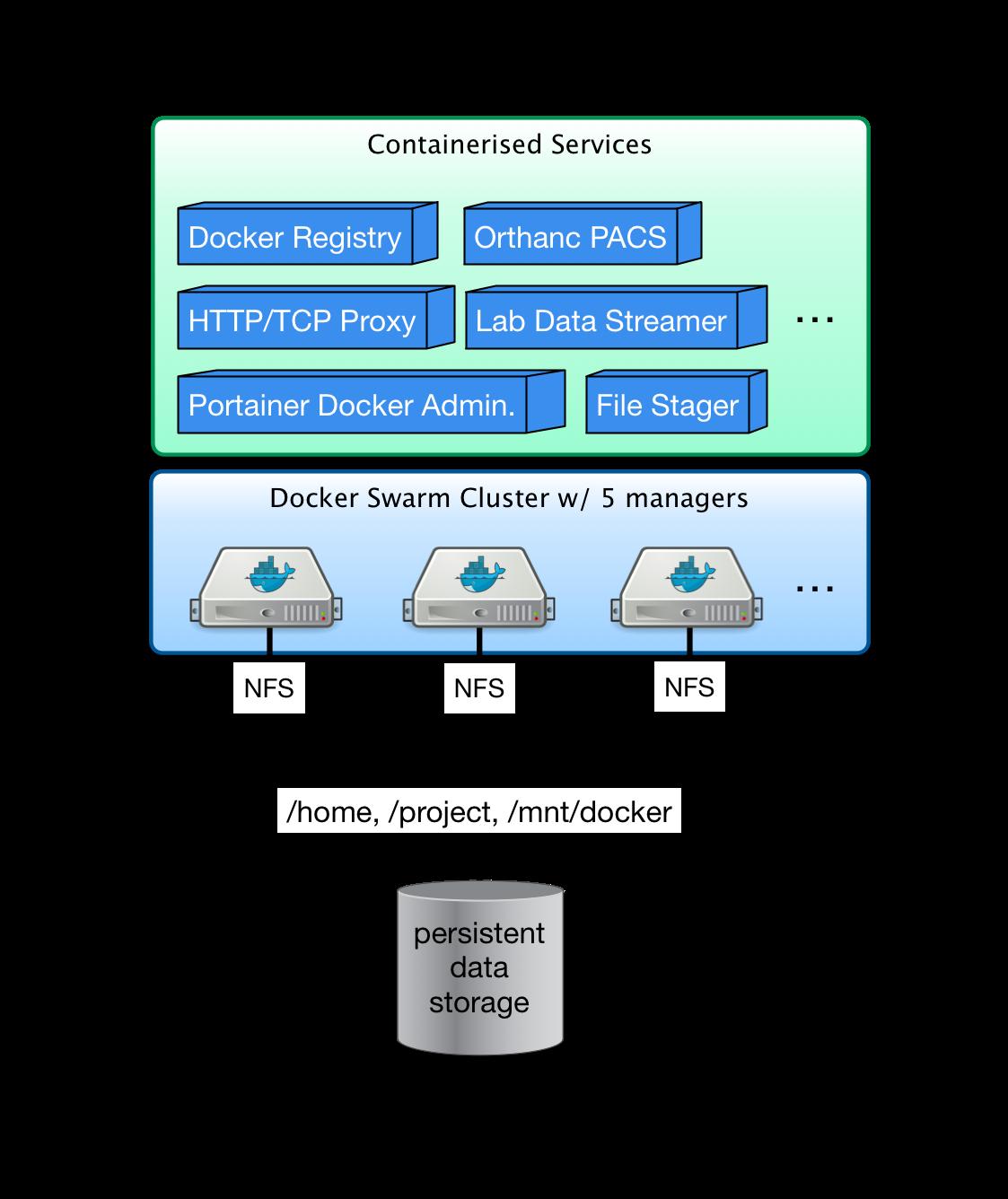 Docker swarm cluster at DCCN — DCCN Docker Swarm Cluster 1 0